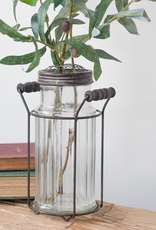 Ribbed Glass Jar with Flower Frog Lid