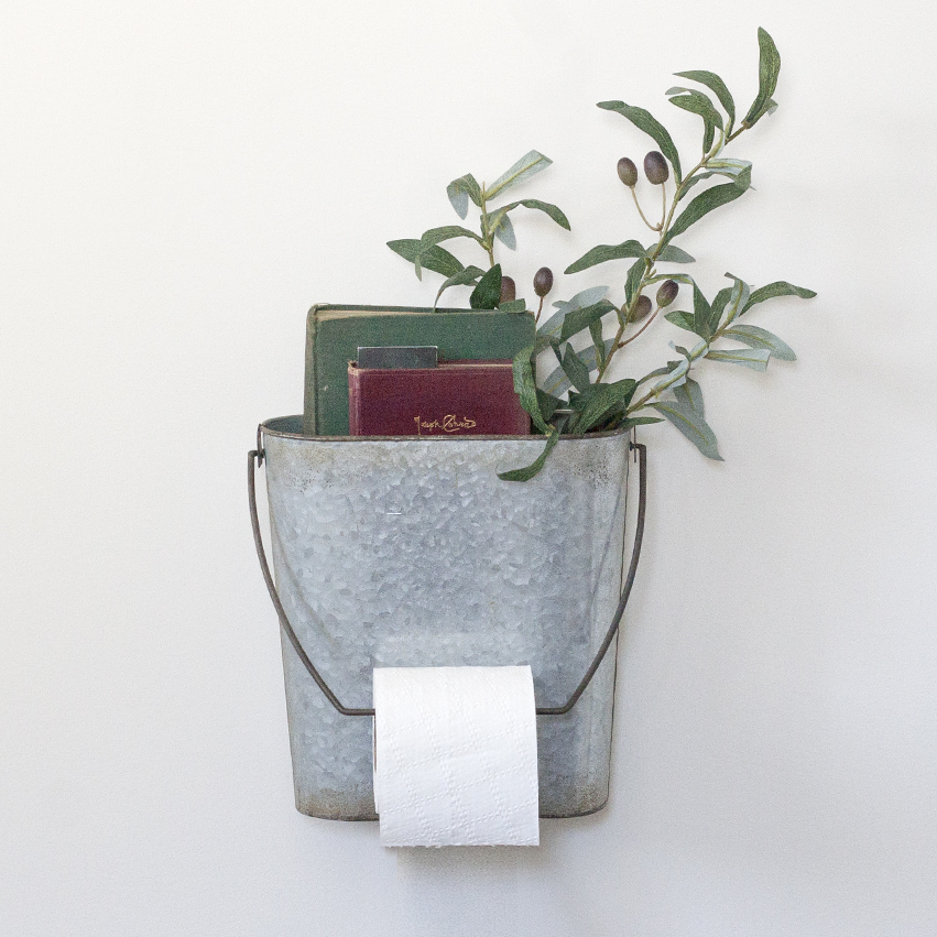 Tin Toilet Paper Holder Bucket