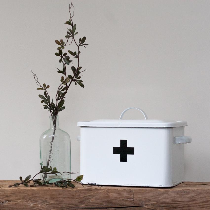 Enameled Tin First Aid Box