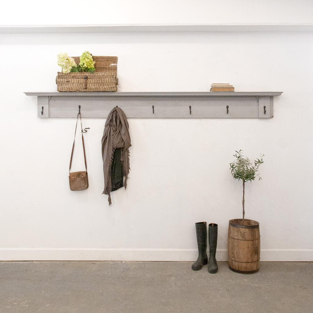 Salvaged Wooden Coat Rack Shelf