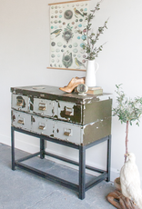 Industrial Metal Drawer Console