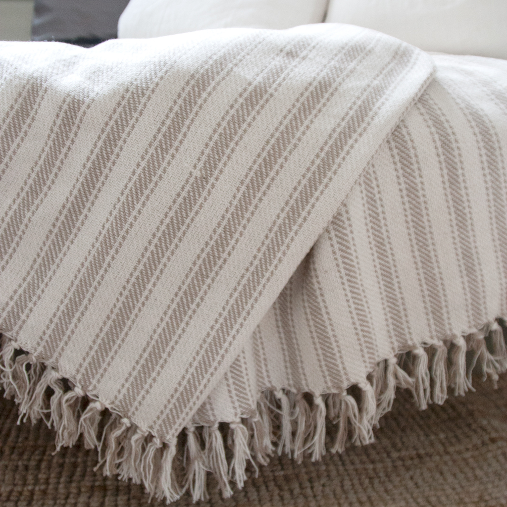 Cotton Ticking Throw