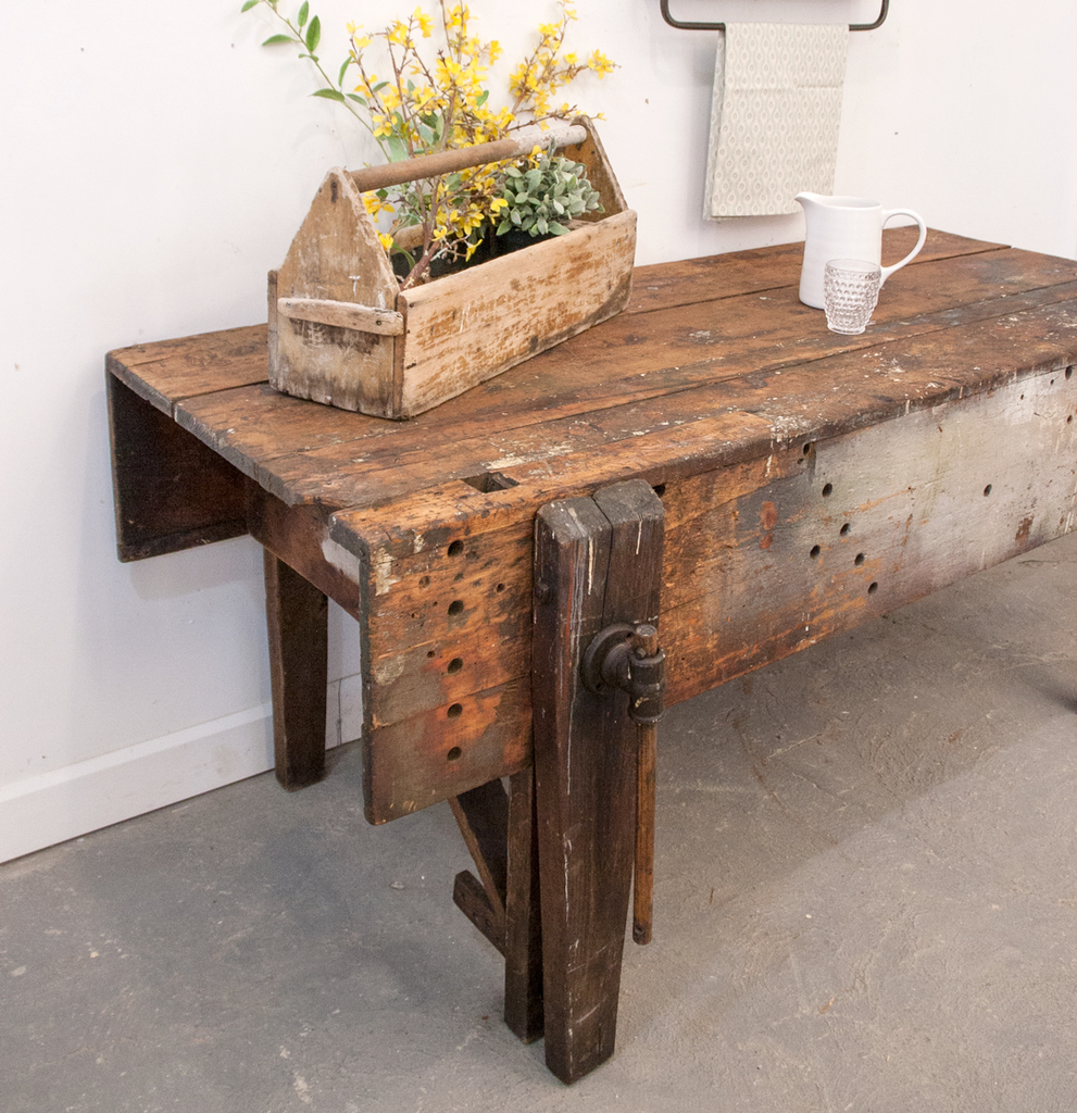 Wooden Work Table with Leg Vice