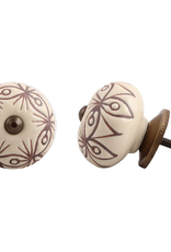 Etched Ceramic Knob - Cream & Bronze