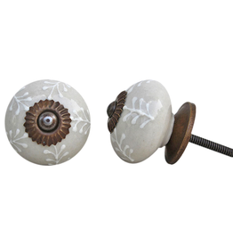 Round Ceramic Knob – Cream & White Leaf