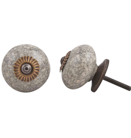 Round Ceramic Knob – Grey & Cream Marble