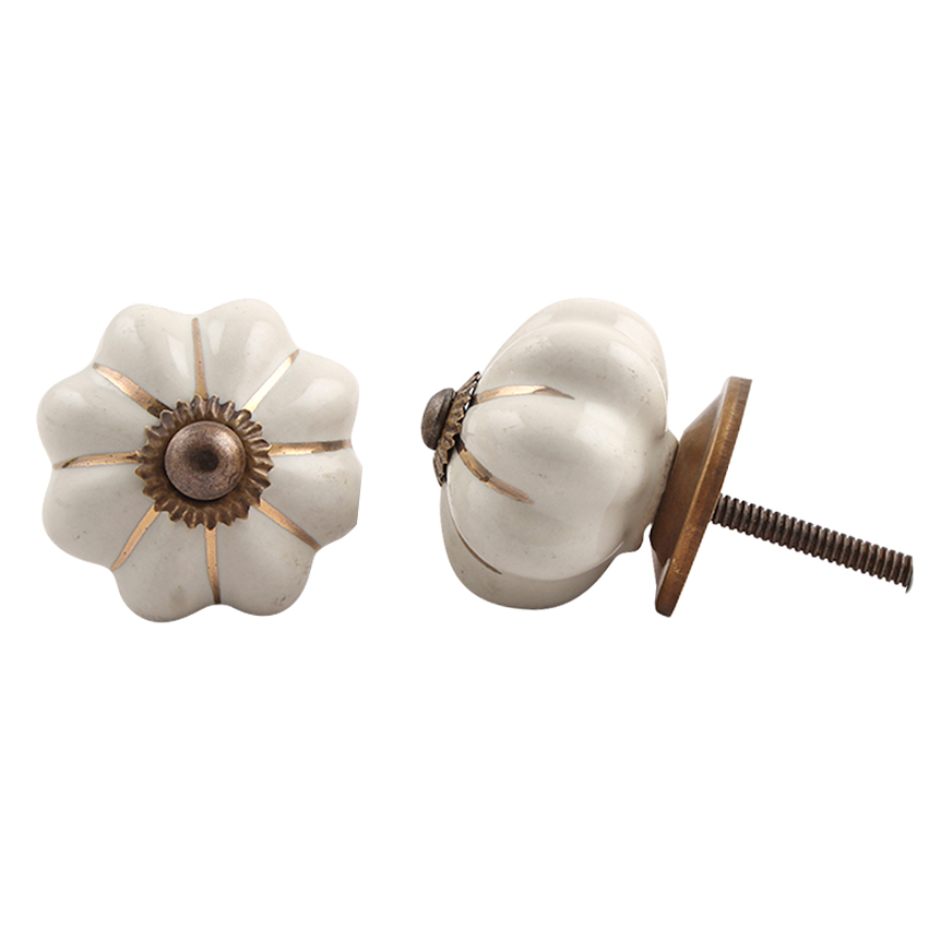 Ceramic Melon Knob – Cream & Gold Stripe