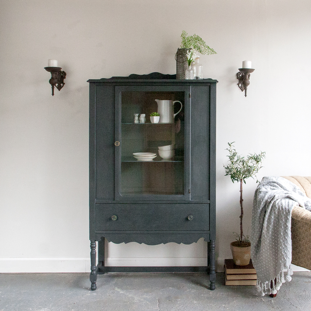 Painted Antique Display Cabinet
