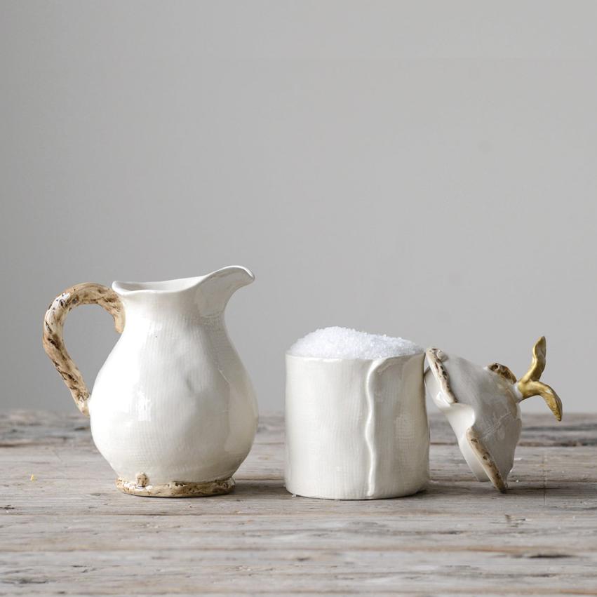 Stoneware Sugar and Creamer