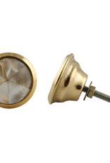 Round Brass Knob - Natural Shell