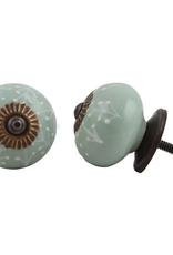 Round Ceramic Knob – Sage Green & White Leaf