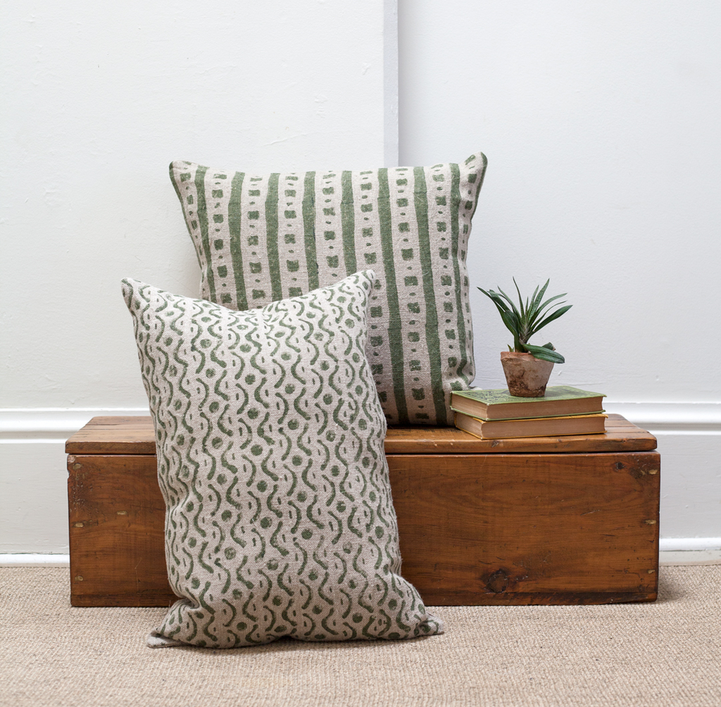 Printed Rough Linen Pillow - Olive + Natural