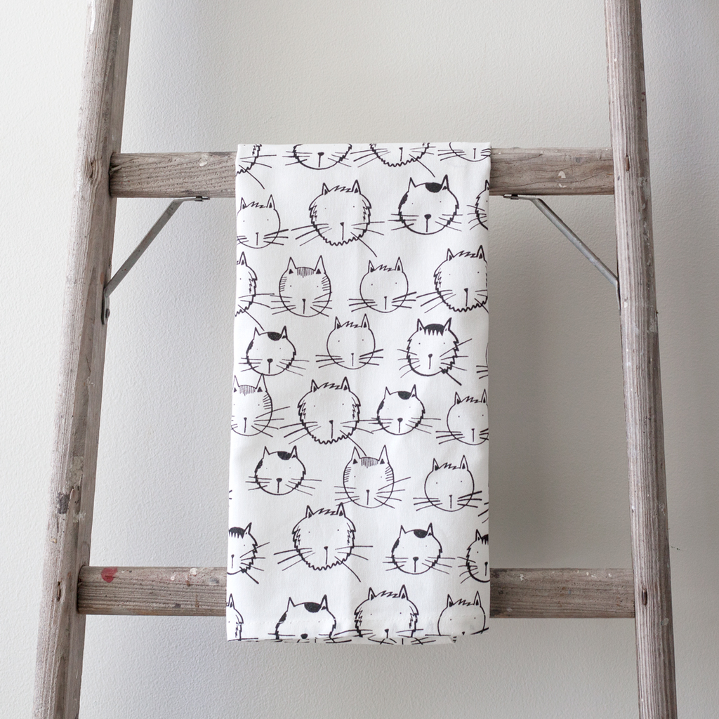 Cat Faces Tea Towel