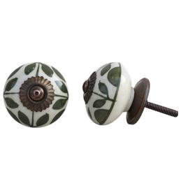 Round Ceramic Knob - Olive Green Leaf