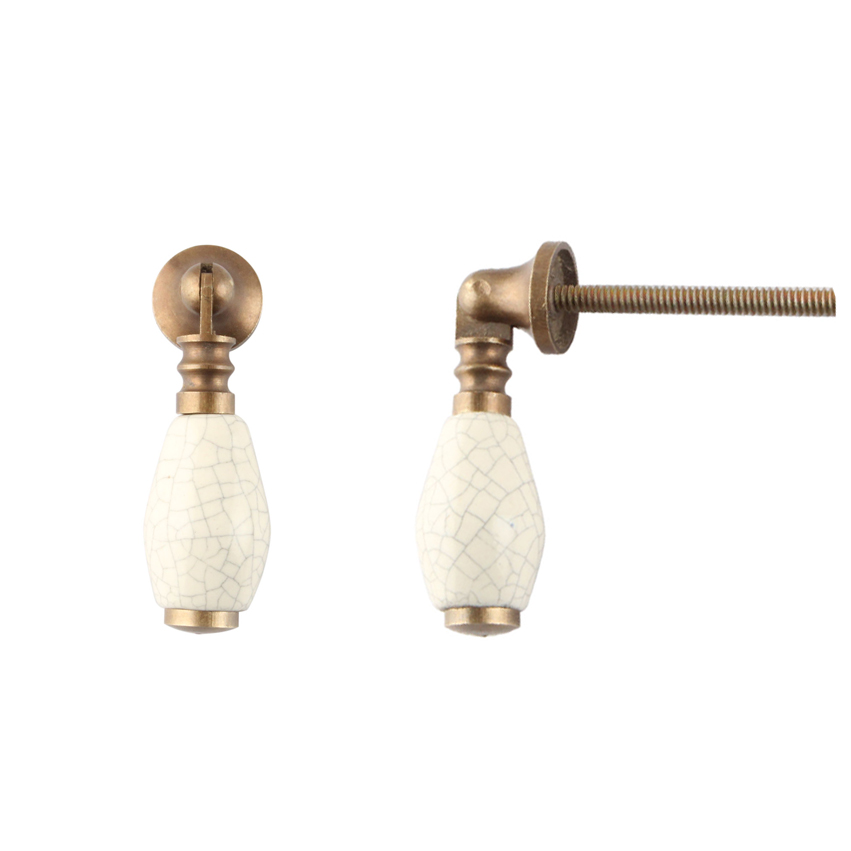 Cream Crackle Brass Drop Pull