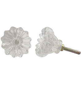 Glass Flower Knob - Clear