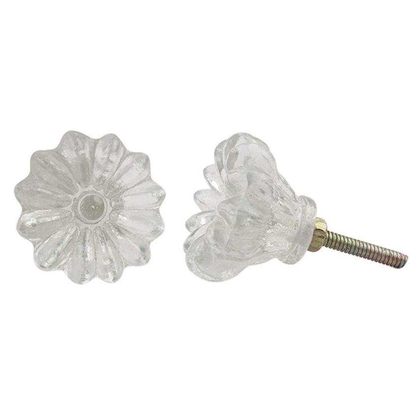 Clear Glass Flower Knob
