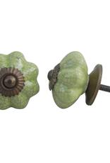 Ceramic Melon Knob - Olive Crackle