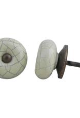 Round Ceramic Knob - Cream Crackle
