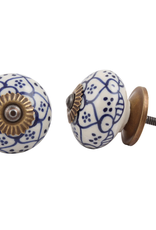 Round Ceramic Knob - Dutch Blue + White