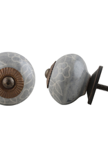 Round Ceramic Knob - Grey + White Flower