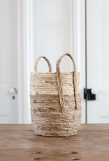 Woven Straw Basket - beige + natural
