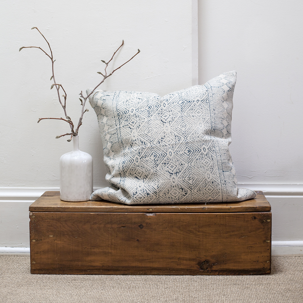 Cotton Weave Pillow - Worn Teal Tapestry