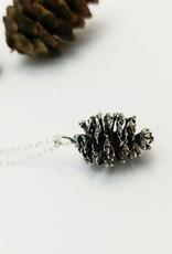 Alder Cone Pendant - Oxidized Sterling