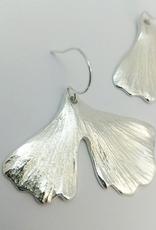 Cast Ginkgo Leaf Earrings - Sterling Silver