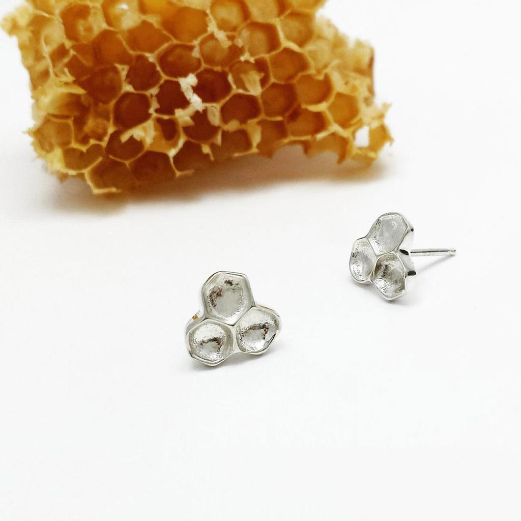 Honeycomb Stud Earrings - Sterling Silver