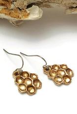 Honeycomb Drop Earrings - Bronze