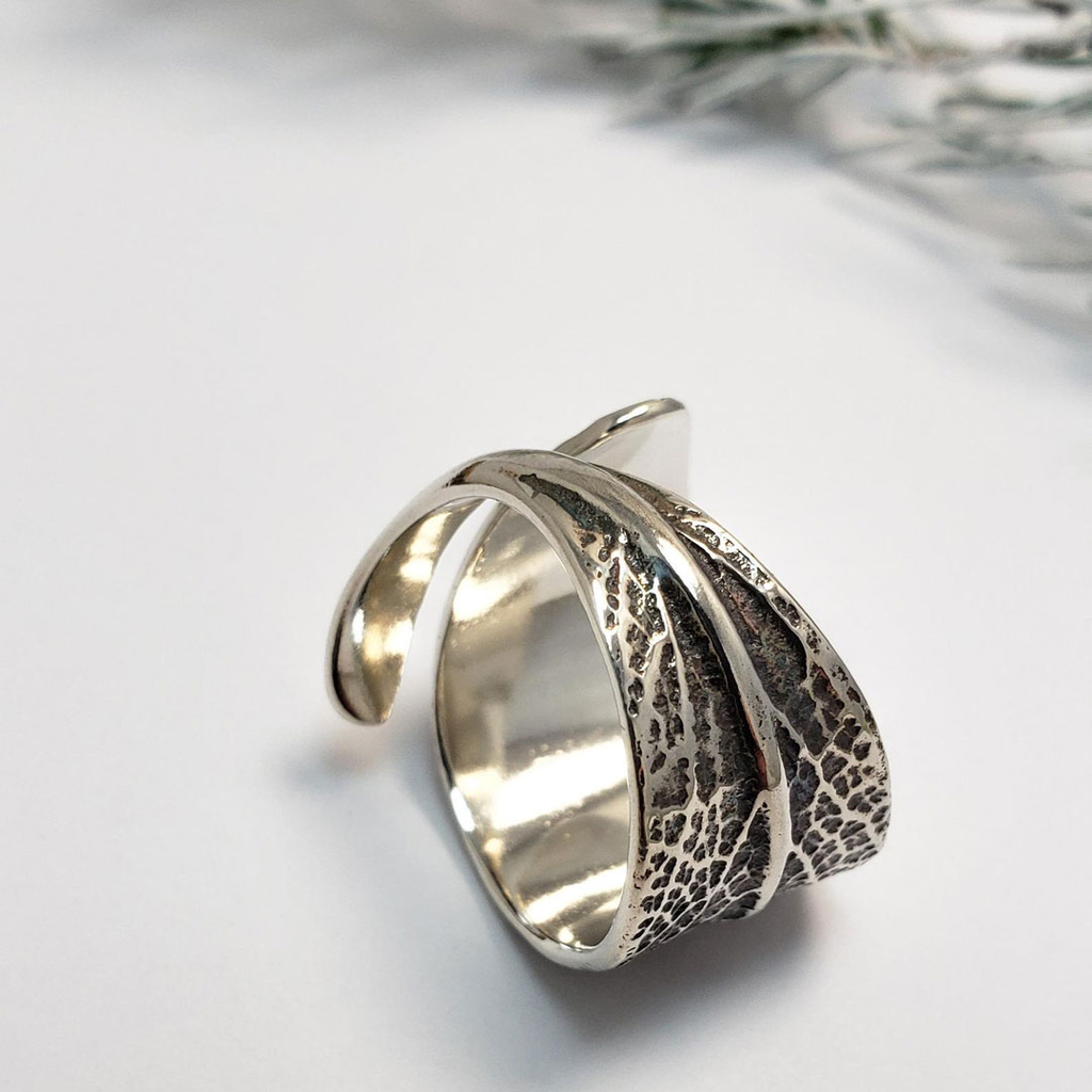 Cast Sage Leaf Ring - Oxidized Sterling