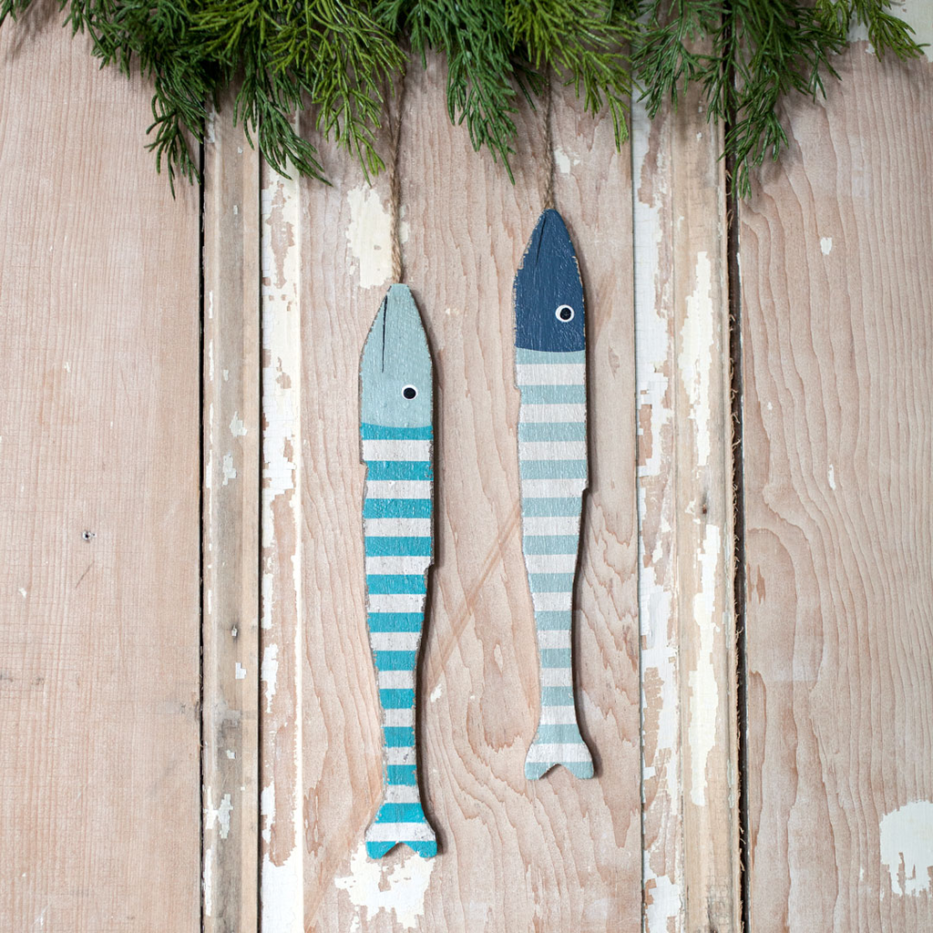 Folky Wood Fish Ornament