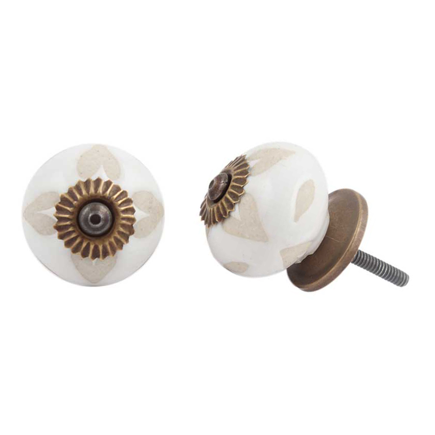 Round Etched Ceramic Knob - Buff + White