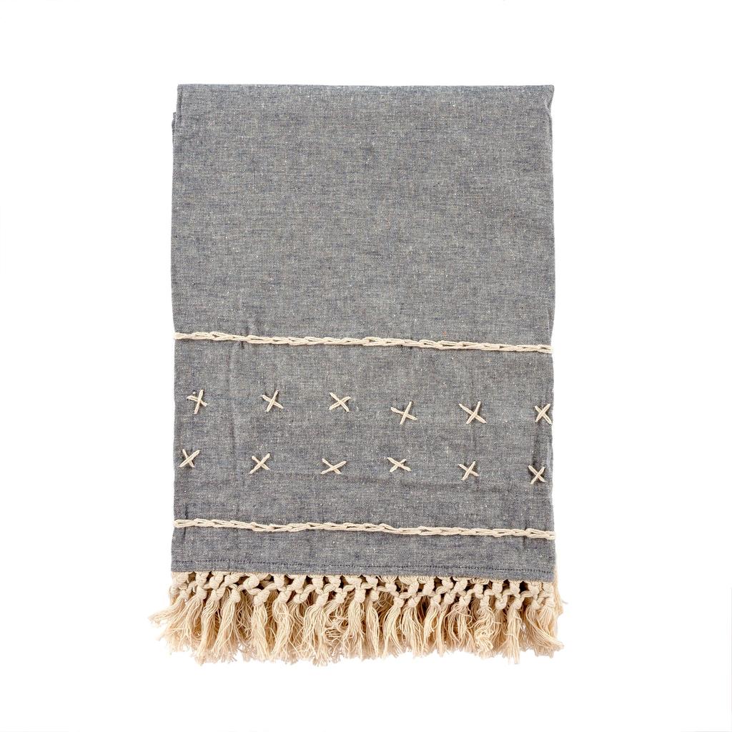 Cross Stitch Throw - Grey