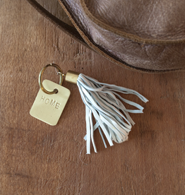 Leather Tassel Keychain - Home