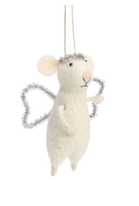 Felted Mouse Angel Ornament