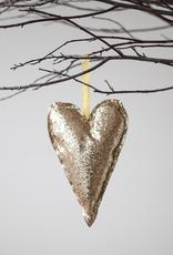 Gold Glitter Heart Ornament