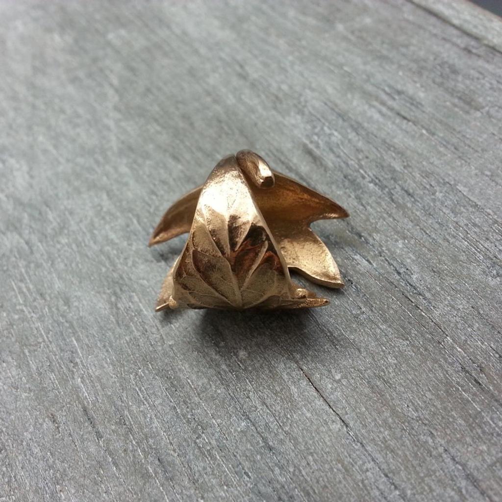 Cast Bronze Tamato Leaf Ring
