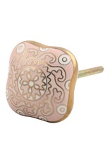 New Square Ceramic Knob – Pink & Gold