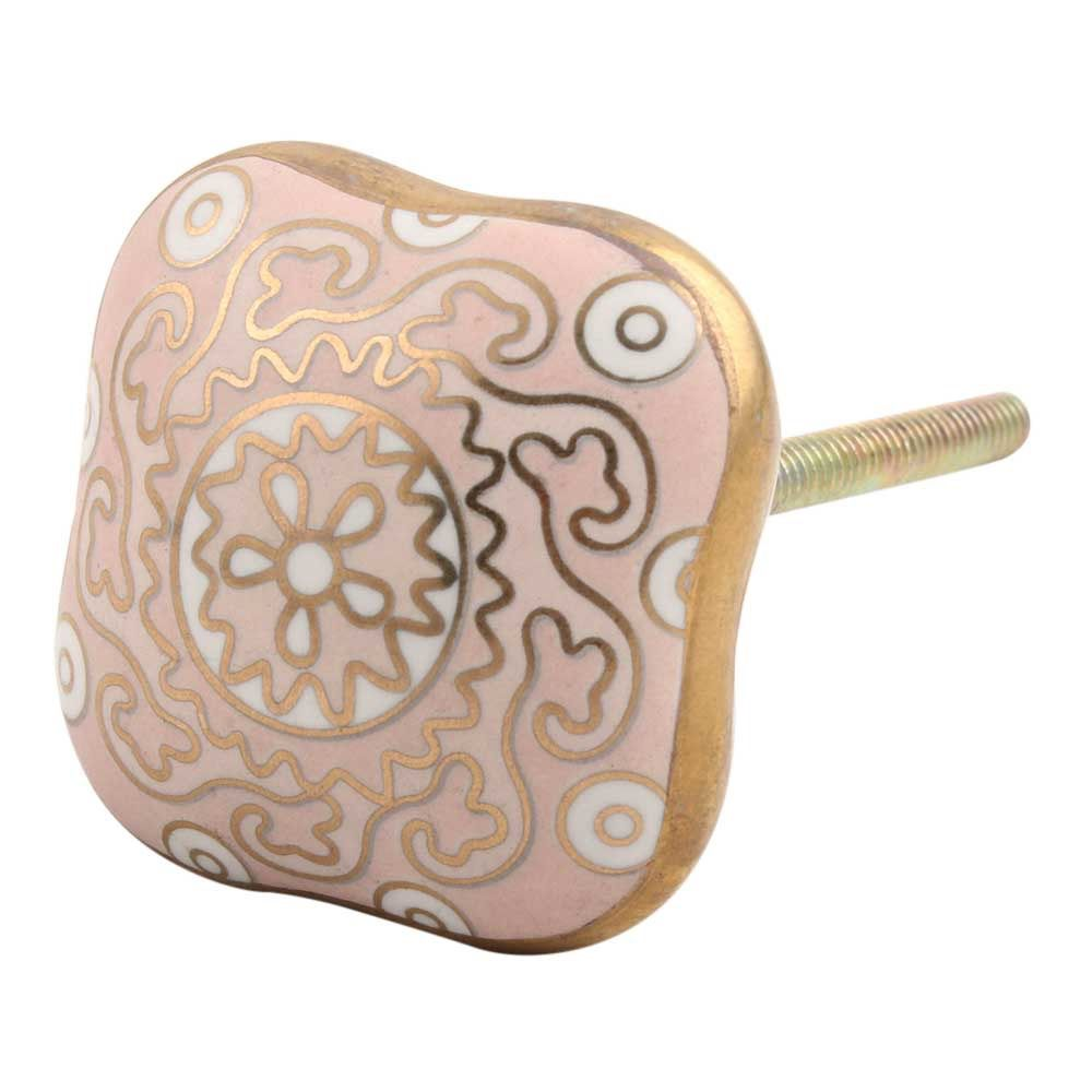 Square Ceramic Knob – Pink & Gold
