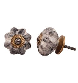 New Ceramic Melon Knob – Black & White Marble