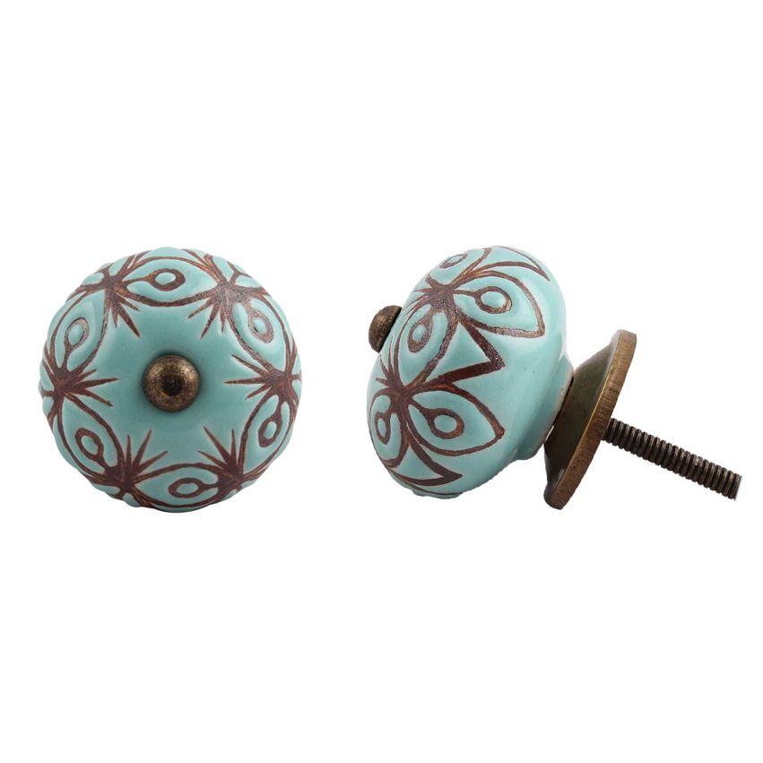 New Etched Ceramic Knob - Turquoise & Bronze