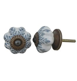 New Ceramic Melon Knob - Grey & White Leaf