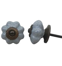 Ceramic Melon Knob – Grey Crackle