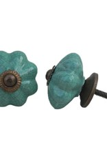 Ceramic Melon Knob – Sea Green Crackle