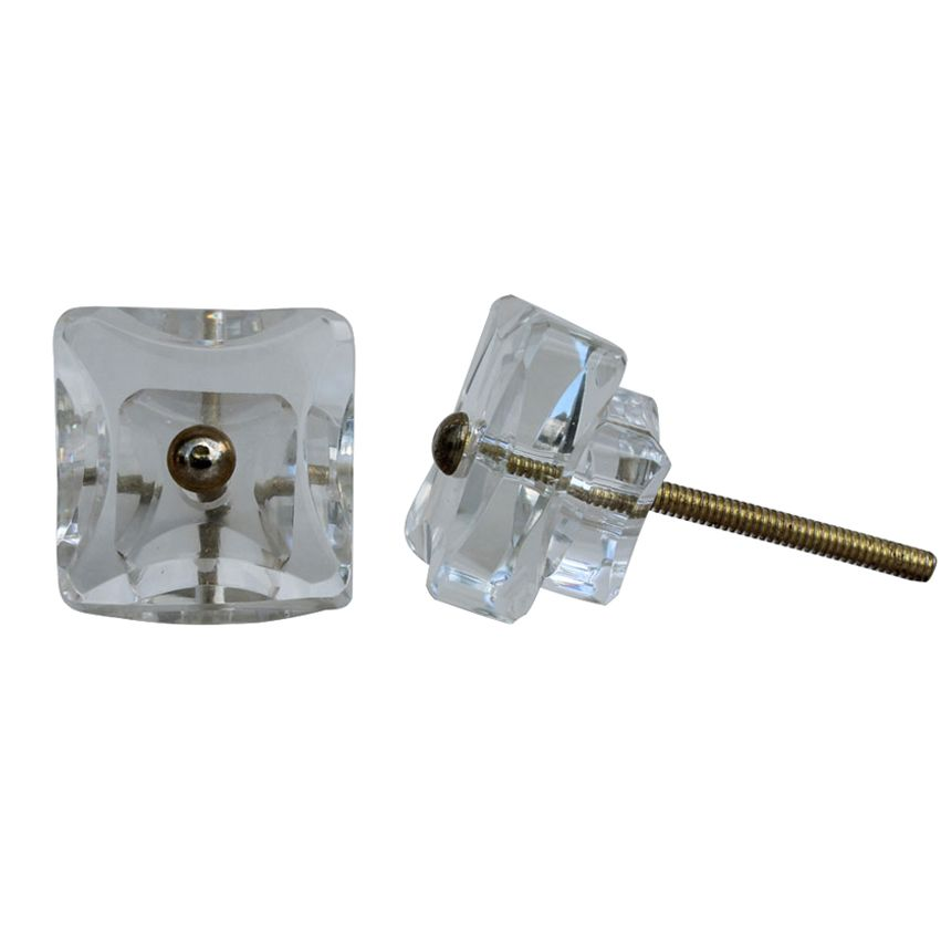 Square Glass Knob - Clear
