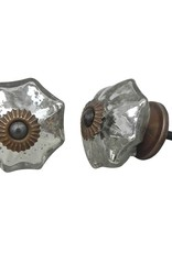 Glass Melon Knob - Silver Mercuty Glass