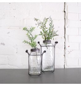 New Glass Jar with Flower Frog Lid