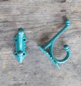 Cast Iron Victorian Style Hook - Turquoise